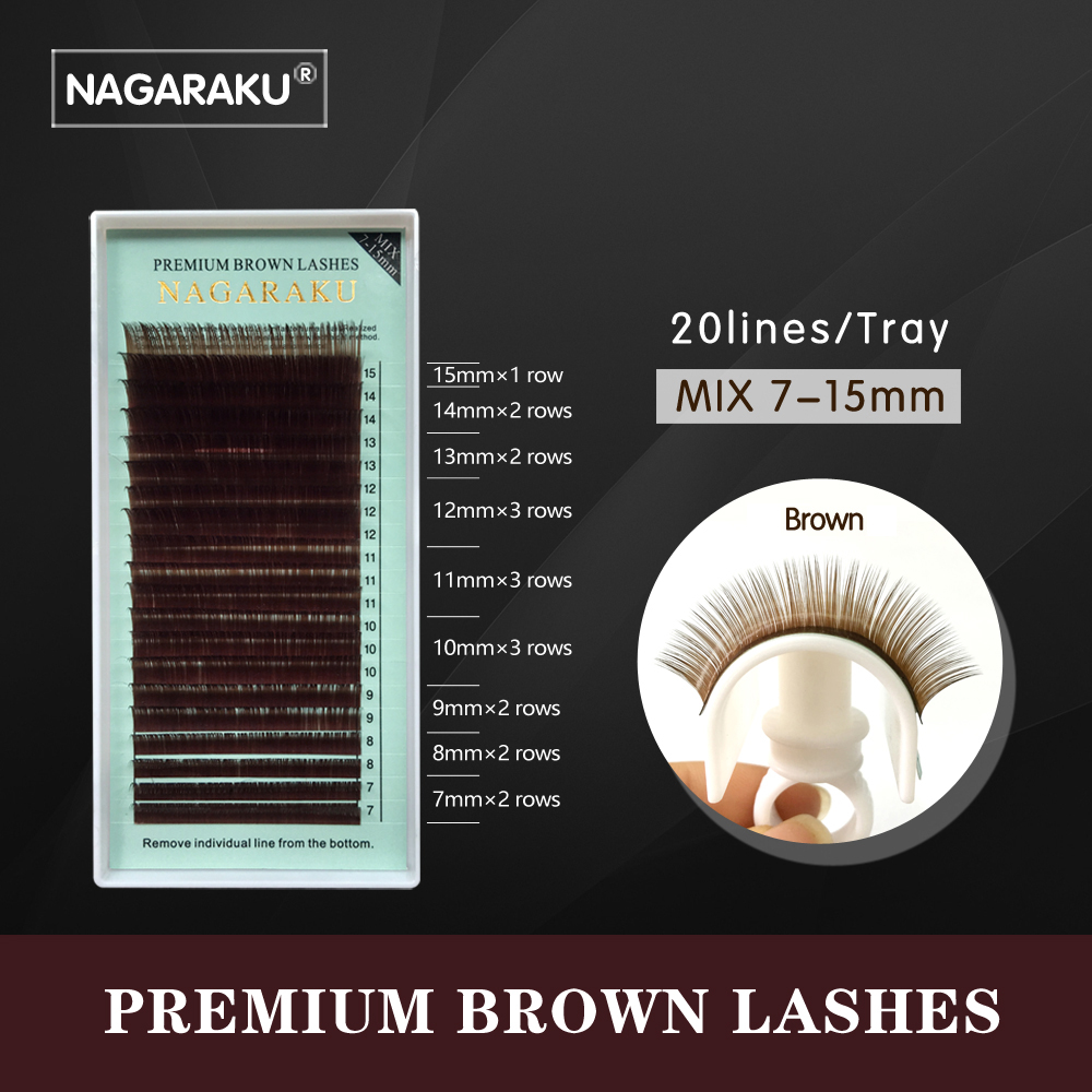 NAGARAKU mix 7~15mm,brown eyelash extension, brown lashes brown eyelashes.Faux Mink False Eyelashes light brown color cilia lash cata c glass 500