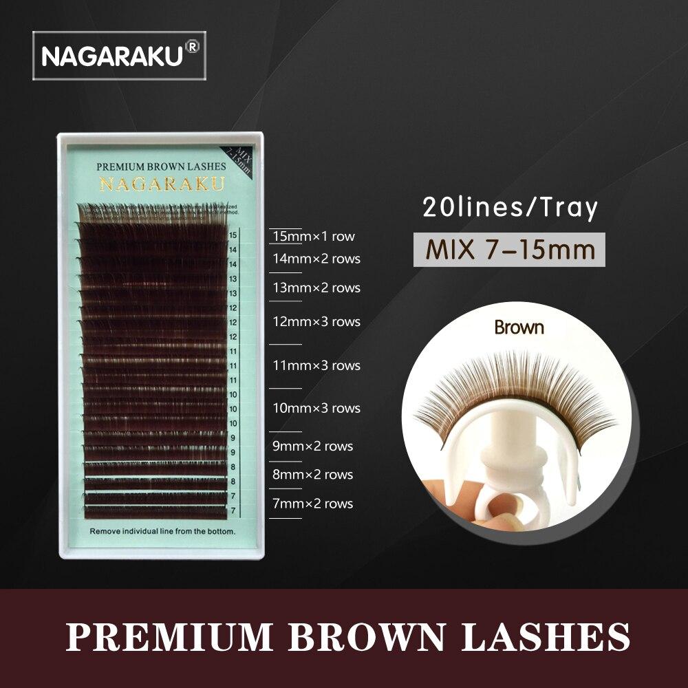 NAGARAKU mix 7~15mm,brown eyelash extension, brown lashes brown eyelashes.Faux Mink False Eyelashes light brown color cilia lash