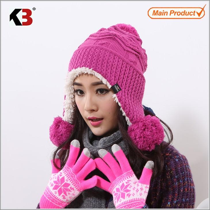 Winter Warm Thick Crochet Knit Pom Pom Beanie Winter Ski Hat with Fleece Lining Windproof (2)