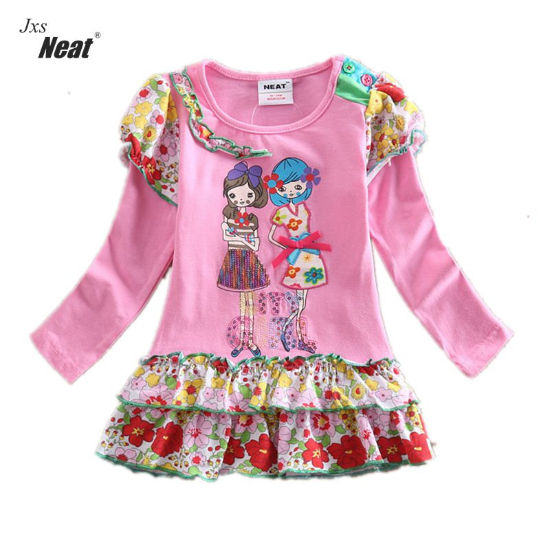 NEAT New style baby girl clothes sofia the first princess dress cute girls dress kids clothes Long sleeve children clothing L195 girls clothes sets fashion europe the united states style princess suede tassel horse clip long sleeved dress kids clothes