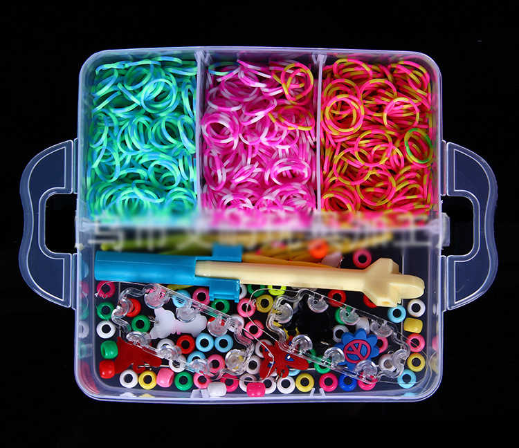 Neue 4500 unids 15 Farben DIY regenbogen farbe gummiband armband geschenk box Kleine drei-schicht weben maschinen Stricken spielzeug WYQ
