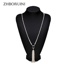 ZHBORUINI Fashion Long Multilayer Pearl Necklace Freshwater Pearl Tassels Women Accessories Statement Necklace Jewelry For Women