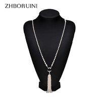 Fashion Long Multilayer Pearl Necklace Freshwater Pearl Tassels Necklace Women Accessories Statement Necklace Jewelry For Women