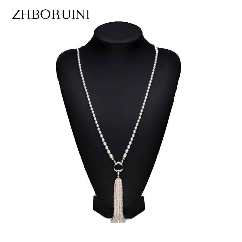 ZHBORUINI Fashion Long Multilayer Pearl Necklace Freshwater Pearl Tassels Women Accessories Statement Necklace Jewelry For Women stylish chic faux pearl layered necklace for women