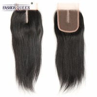 Brazilian Straight Hair Lace Closure 4x4 Middle Part Top Swiss Closure Natural Color Non Remy Hair