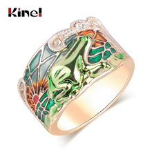 Kinel Hot Animal Jewelry Frog Rings Fashion Green Enamel Wide Ring For Woman Party Crystal Gold Color Vintage 2019 New