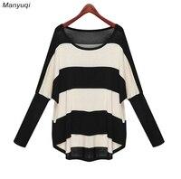 Herbst streifen weibliches T-shirt rundhals fledermaus langen ärmeln wilden pullover exo tops lose dünnes t-shirt