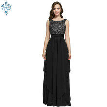 Ameision Elegant Women black Long Evening Dress 2019 Dark Navy Formal Party Chiffon Lace Zipper Slim Fit Blue Gown