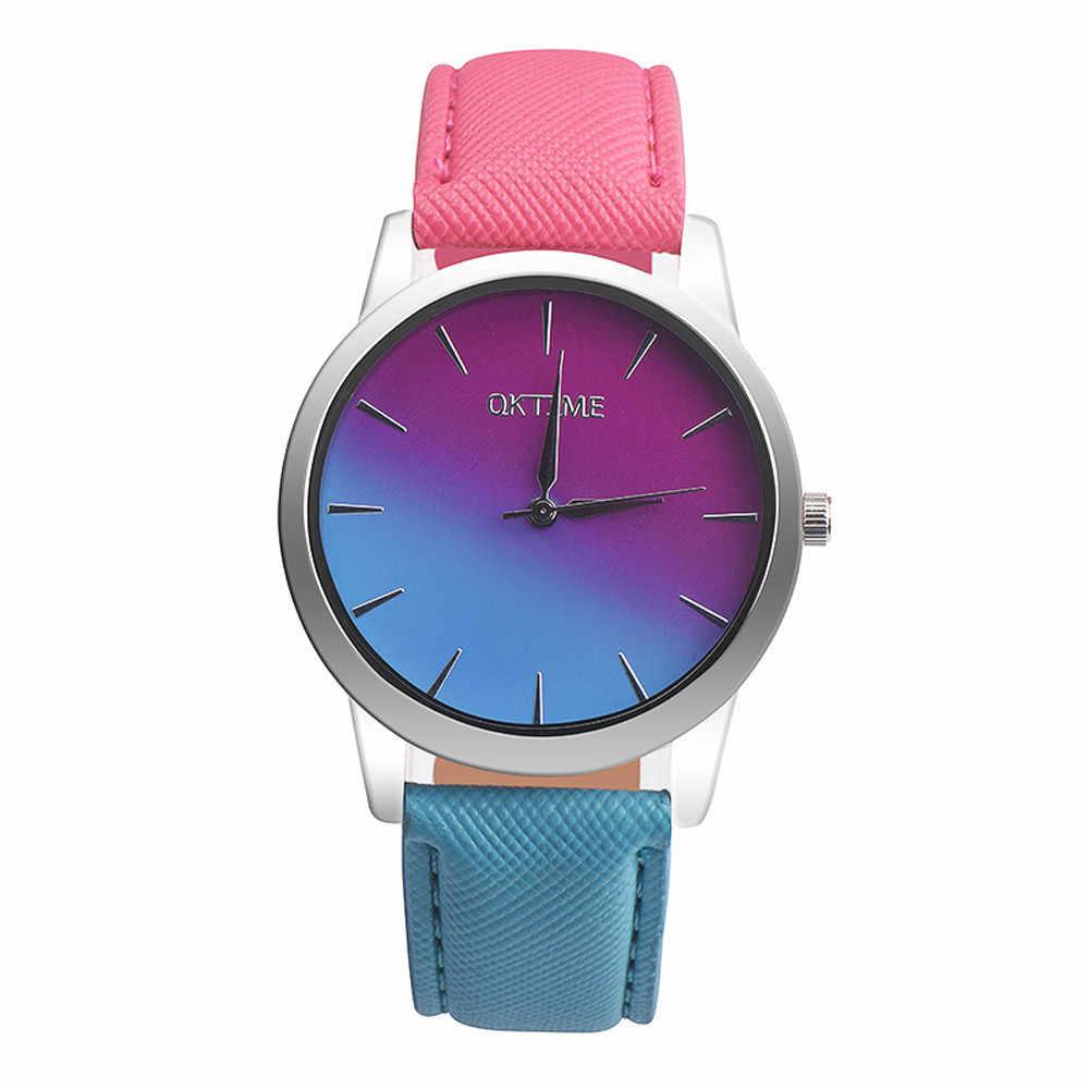 2019 nowych moda zegarek kwarcowy kobiety dziewczyna Retro Rainbow projekt skórzany pasek na rękę bransoletki z zegarkiem erkek saat reloj mujer