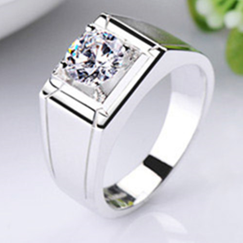 Reliable Male Ring 1Ct Synthetic Diamonds Ring for MEN Solid 925