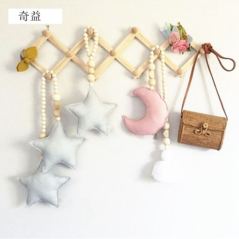 1pcs New love Star Moon Tassel Wooden Bead Pendant Children Room Accessories Game Tent Bed Mantle Collocation Decoration GPD