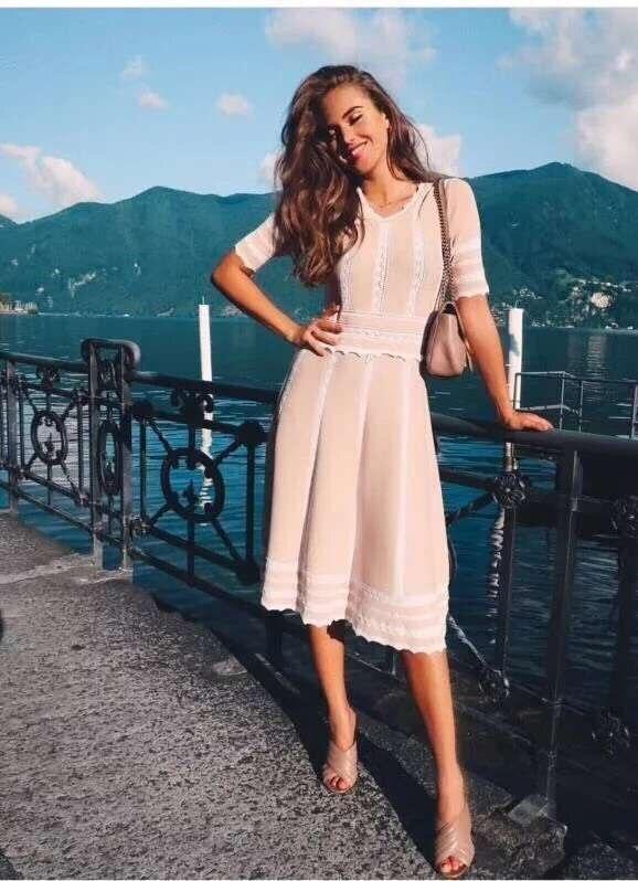 Femmes Cou Sexy V 2018 Party Robe Robes Genou Moulante Courtes Rose Bandage longueur Date Manches Celebrity Été À QWerdBoCx