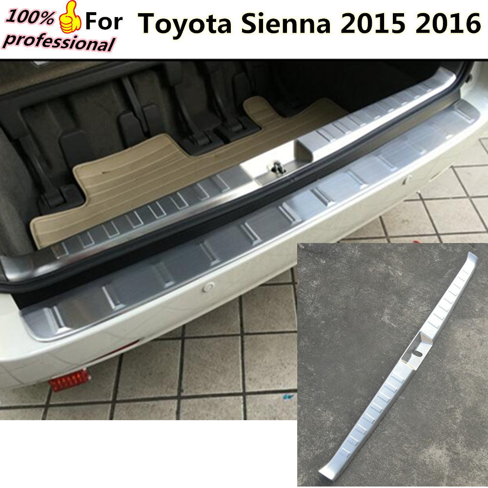 Free Shipping Car styling Stainless Steel Inner built Rear Bumper Protector trim plate pedal 1pcs for Toyota Sienna 2015 2016 car styling cover detector stainless steel inner built rear bumper protector trim plate pedal 1pcs for su6aru outback 2015