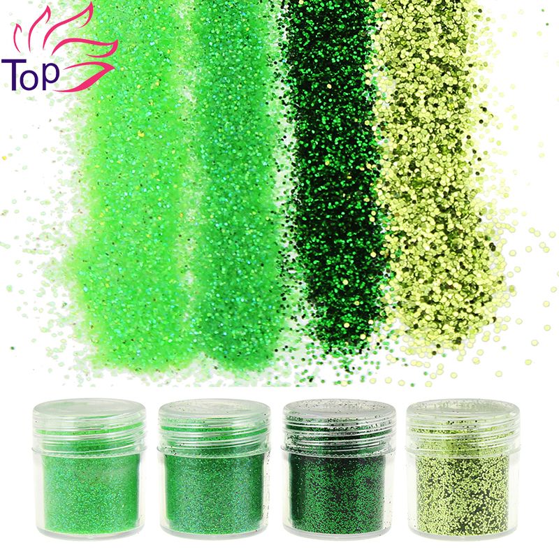 4 bottle set 4 designs green shiny dust gem nail glitter for Acrylic nail decoration supplies