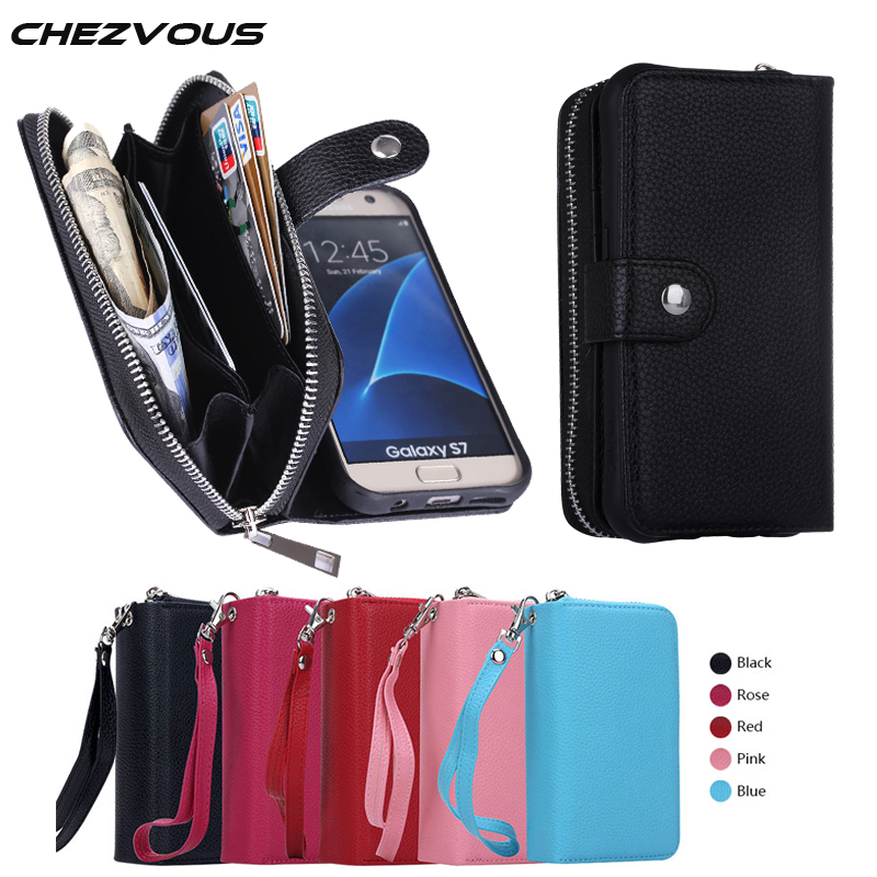 For Samsung S7 Case Multifunction Zipper Leather Wallet Magnetic Removable Back Case For Galaxy S7 S6 Edge S6 S5 S4 S3 Note 5 4