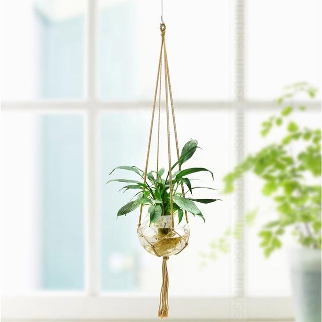 WITUSE 6 Colors Pure Cotton Rope Holder Hanging Basket Plant Flower Pot Hanger Lifting Rope Garden Hanging Flower Display 4 Legs