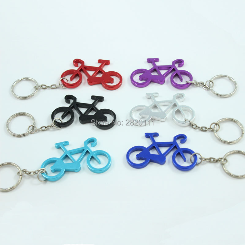 Wholesale 72Pcs Bicycle Bottle Opener Keychain Aluminum Alloy Beer opener Promotion Keyring Gift Customize Logo  free shipping-in Key Chains from Jewelry & Accessories    1