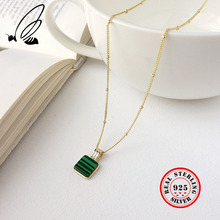 925 Sterling Silver Green Square Malachite Geometry Pendant Necklace Gold Round Bead Chain For Women Jewelry Charms