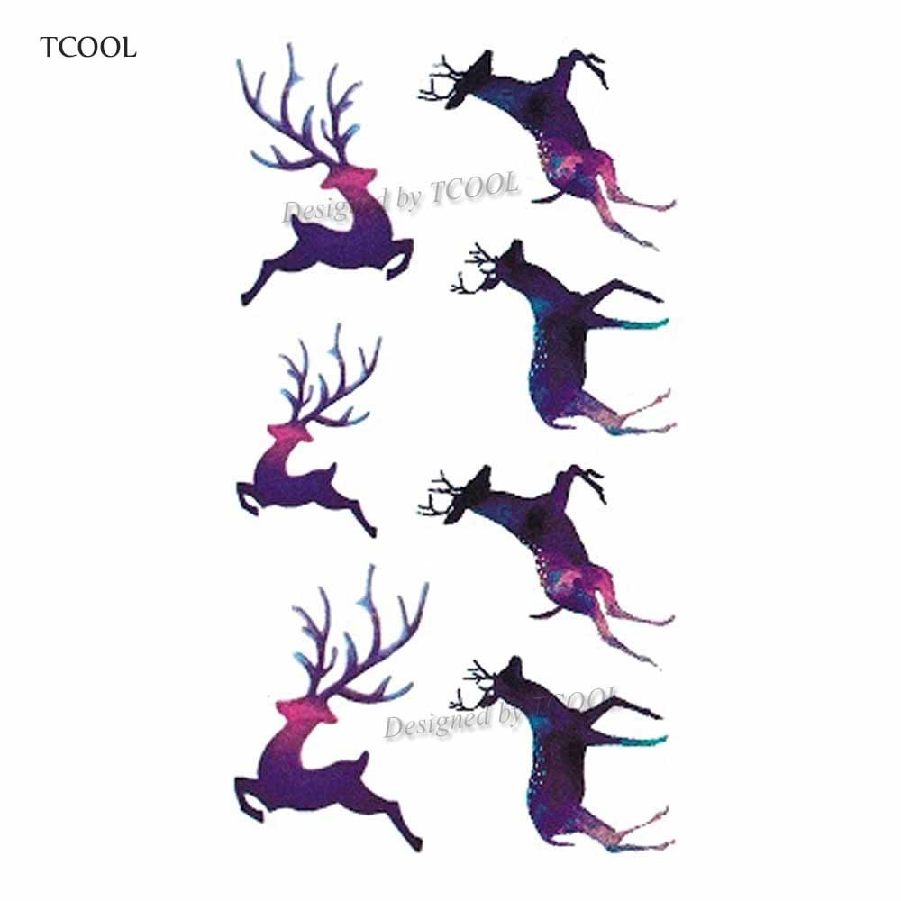 HXMAN Deer Temporary Tattoo Sticker Waterproof Women Men Adults Fake Body Art Tattoos New Design 10.5X6cm Kids Hand Tatoo A-023