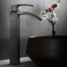 Basin Faucets Single Lever Antique Waterfall Bathroom Faucet Deck Mounted Vessel Sink Mixer Taps Cold And Hot Water Tap S79-427 deck mounted luxury bathroom sink basin water taps single lever washing basin mixer faucet with hot and cold water drain