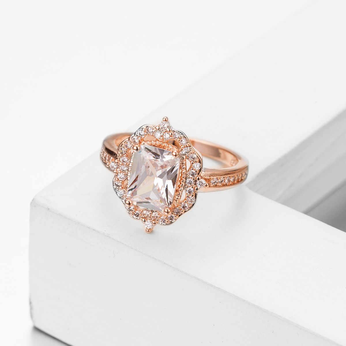 14 K Or Rose Peridot Carre Diamant Fermer Bague Femmes Bijoux De Mariage Bagues Bague En Or Rose Pierre Gemme Diamante Topaze Bizuteria