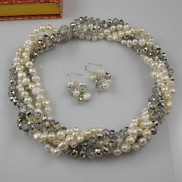 Wedding Pearl Jewelry Set Five Rows AA 5-8MM Gray Crystal Natural Freshwater Necklace Earrings Rhinestone Magnet Clasp genuine baroque pearl jewelry set natural freshwater pearl necklace earrings 7 8mm 4 rows magnet clasp fine jewelry for woman