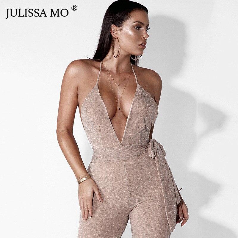 64c3970d935f JULISSAMO Sexy Shine Bandage Jumpsuit Women Deep V Neck Lace Up Slim Rompers  Backless Overalls Elegant Party Bodysuits Playsuits