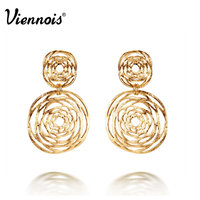 Viennois 18K Gold Plated Double Hollow Circle Cross Dangle Earrings Gift For Women New 2014