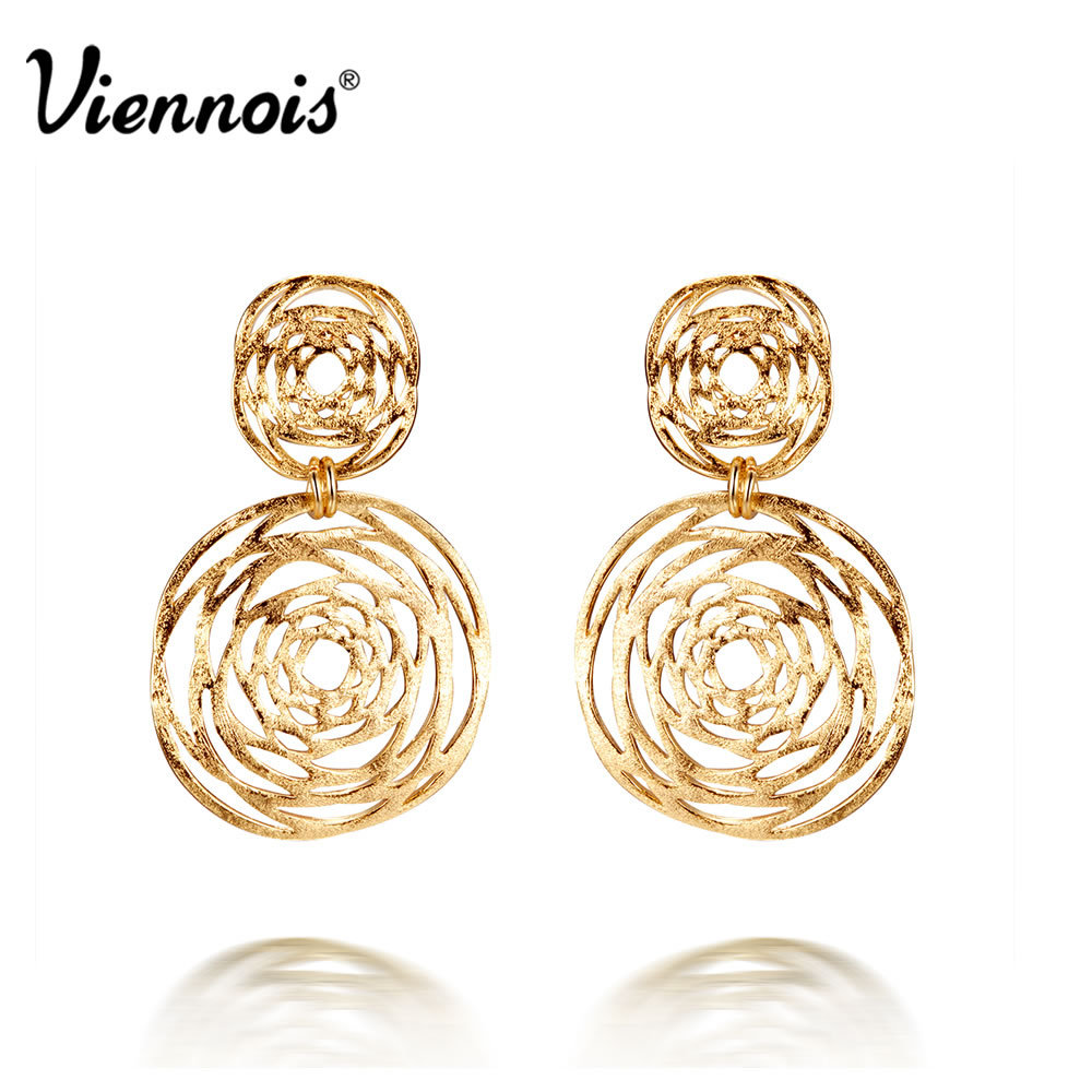 Viennois Fashion Jewelry Gold Color Double Hollow Out Circle Cross Dangle Earrings For Women New цена