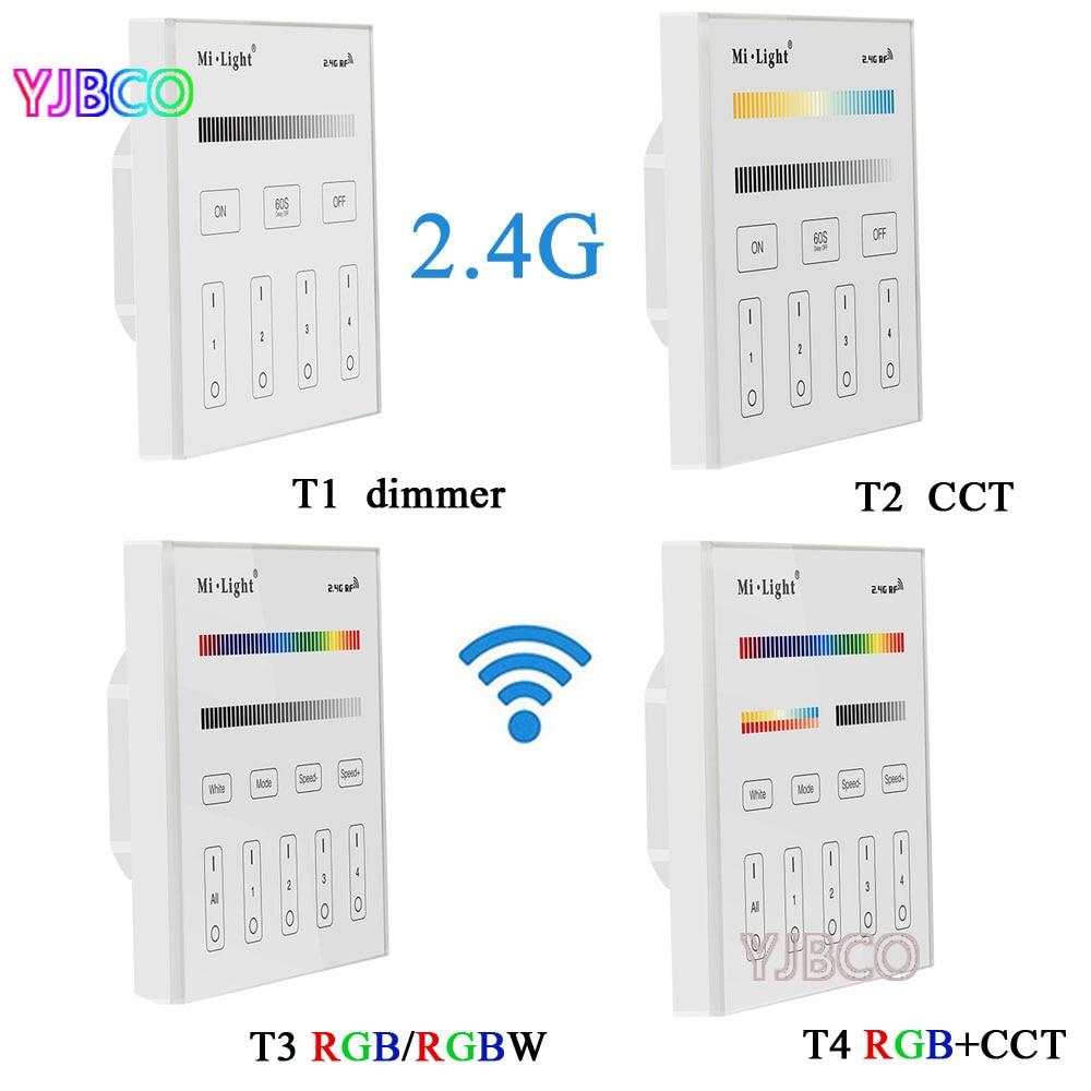 Miboxer 2.4G T1/T2/T3/T4 4-Zone Smart tactile panneau led variateur contrôleur pour RGB/RGBW/CCT luminosité led bande, AC220V