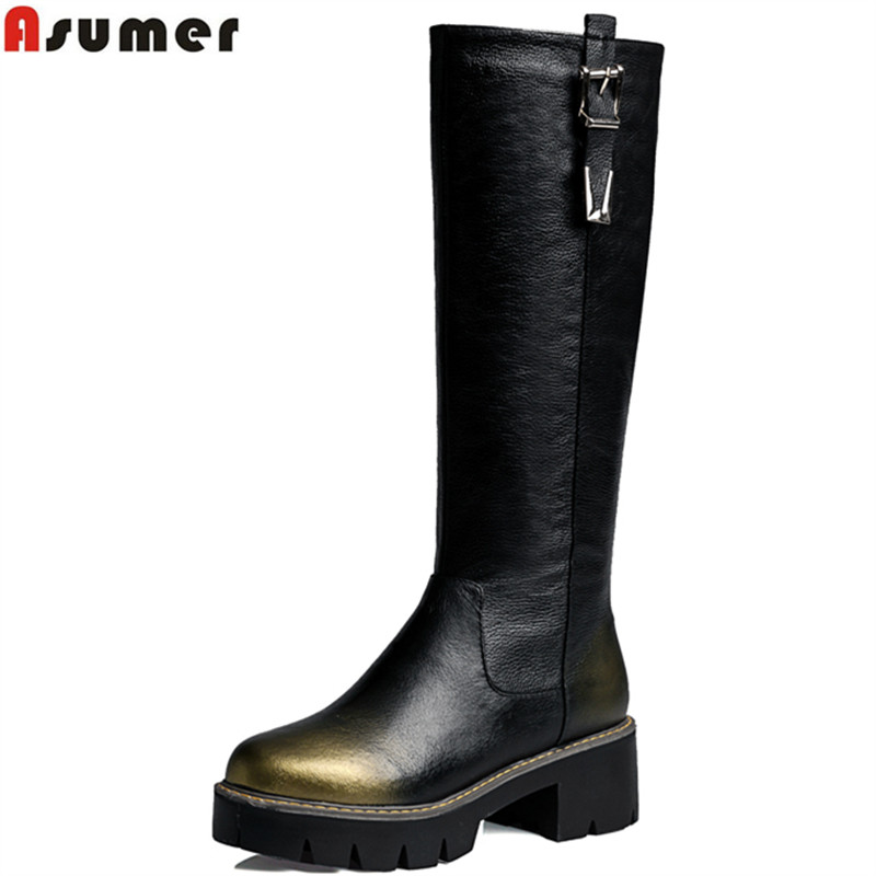 ФОТО New Arrival pu+genuine leather boots square med heel round toe platform winter knee high boots zip buckle women motorcycle boots
