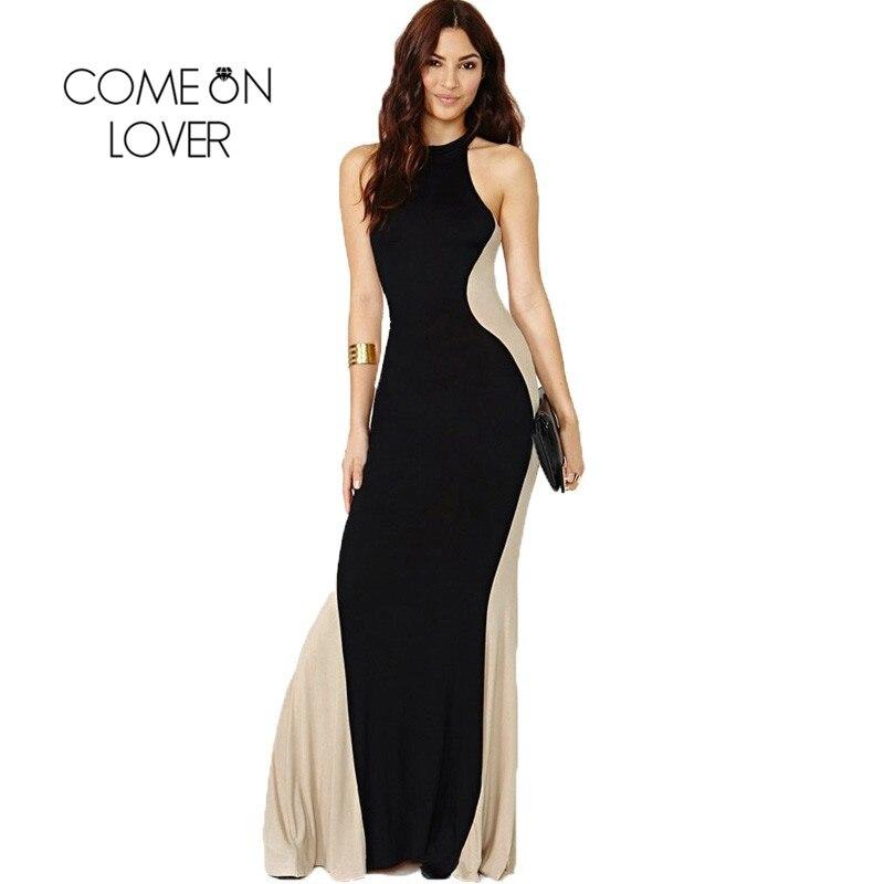 R80121 Top Sale Two Tone Maxi Summer Dresses Casual Plus Size High Quality Elegant Vestido De Festa Patchwork O-neck Woman Dress