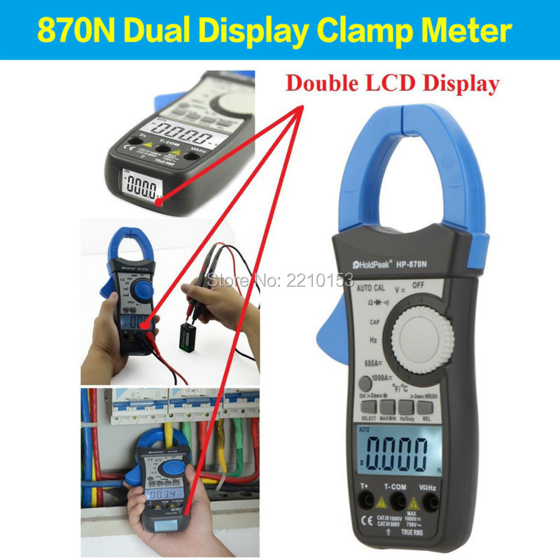 HoldPeak Auto Range DC/AC Digital Clamp Meter Multimeter Relative Value Ac True RMS Inrush Current Test HP-870N aimo m320 pocket meter auto range handheld digital multimeter