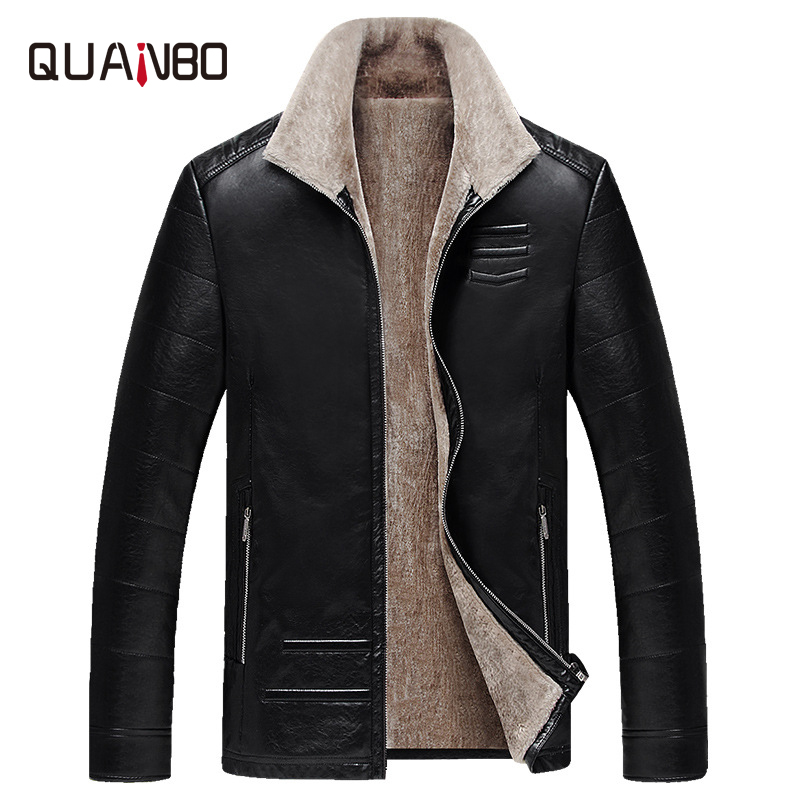 QUANBO 2019 New Winter Men's Leather Jacket Warm Wool Liner Jacket Fashion Turn Down Collar Velvet Business Casual Men Fur Coat