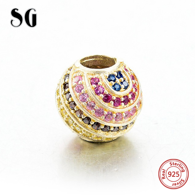 Fit original pandora charm Bracelets round spiral beads with multicolor stone Silver 925 fashion Jewelry Making for women Gifts