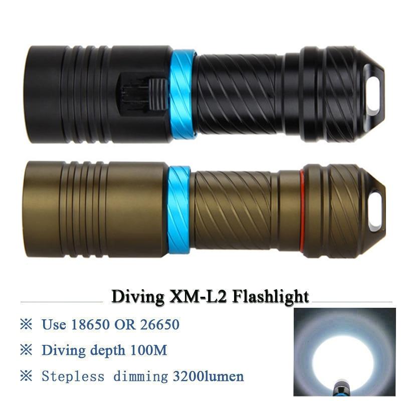 High power LED Impermeável Mergulho Lanterna Tocha subaquática 10000LM XML L2 Stepless Ajustar O Brilho De Alumínio LEVOU lampe