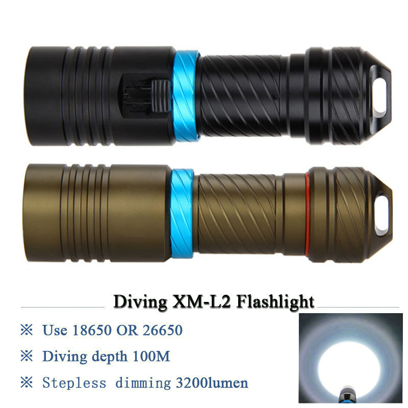High Power LED Waterproof Scuba Diving Flashlight Underwater Torch 10000LM XML L2 LED Aluminum Stepless Adjust Brightness Lampe
