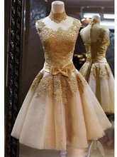 2016 New Hot Sale Fashion Popular A Line Princess High Neck Sleeveless Applique Organza Short Mini