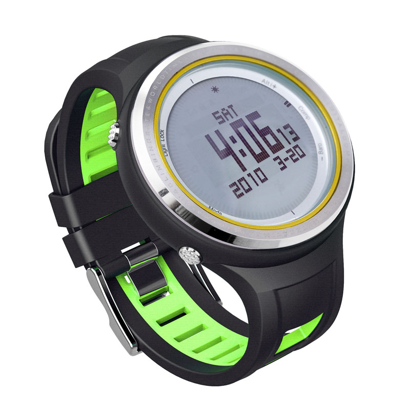 SUNROAD FR800NA Outdoor Sports Watch Men-Digital Altimeter Barometer Watches Pedometer Watch Clock with Compass (Green)  sunroad fr800nb sports watch men waterproof digital altimeter barometer compass watches pedometer men watch style clock green
