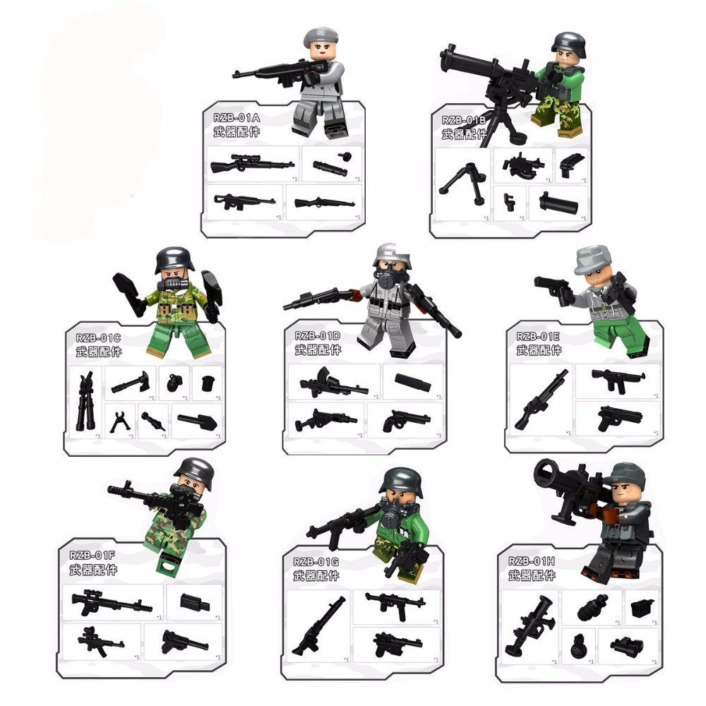 8pcs/lot City Swat Police Team Army soldiers Building Blocks Swat Squad Commando fugures Weapons brick toys gift ...