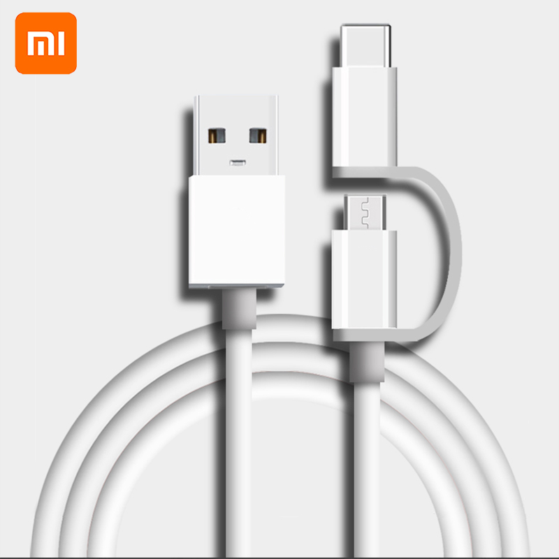 original Xiaomi 2 <font><b>in</b></font> <font><b>1</b></font> Micro USB to Type C sync data Charger <font><b>Cable</b></font> usually wire for Mi 5 5A 5C 5X 5S plus <font><b>6</b></font> 6X 8 SE 9 redmi 4A X image