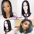 High Quality Silk Straight Bob Synthetic Lace Front Black Wig for Black Women Heat Resitant Glueless African   American Bob Wigs