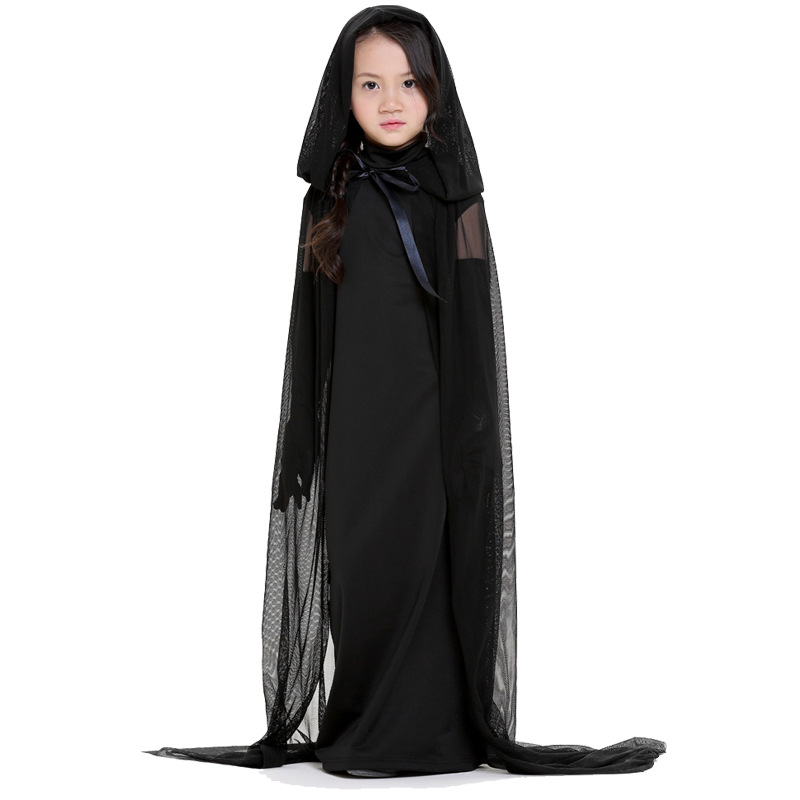 kids adults black ghost costume evil witch costume gothic cosplay floor length cloak halloween costumes for women girl in holidays costumes from novelty