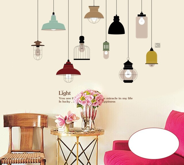 pendant lamp wall sticker vinyl stickers chandelier wall decal diy