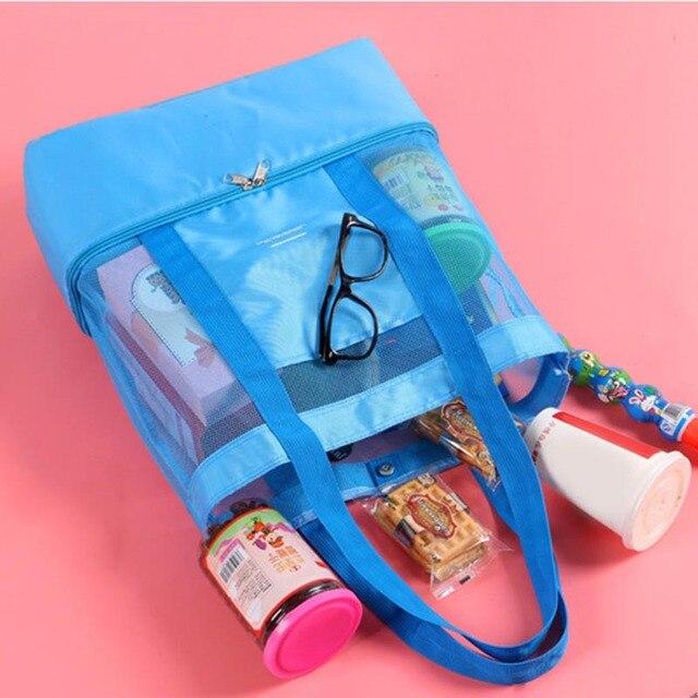 Women's Handbags 2019 High Capacity Women Mesh Transparent Bag Double-layer Heat Preservation Large Picnic Beach Bags Bolsas 2