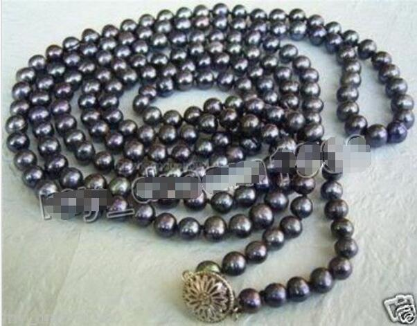 Hot sale new Style >>>>>50'' long 7-8mm Black real Freshwater Cultured Pearl Necklace