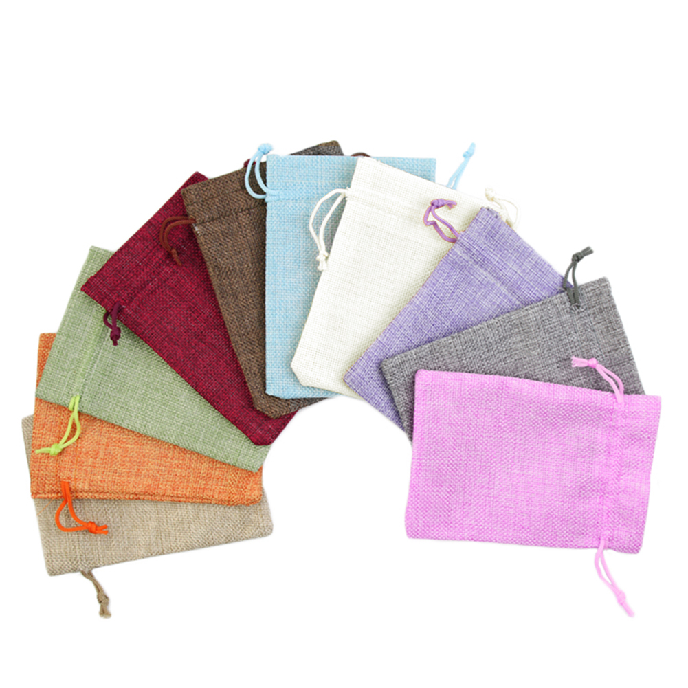 11colors 7x9cm/ 10x14cm/13x18cm Linen Bag Drawstring Gift Pouch Jewelry Crafts Candies Snacks Coins Storage Bags Party Favors