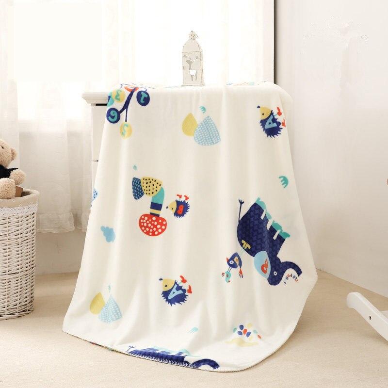 Детское одеяло из кораллового флиса 140*100 см, Двухслойное стеганое одеяло для малышей, осенне зимнее Пеленальное Одеяло для новорожденных, д