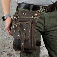 BULL CAPTAIN New Men Genuine Leather Waist Thigh Drop Leg Bag High Quality Messenger Shoulder Bag Belt Hook Fanny Waist Pack