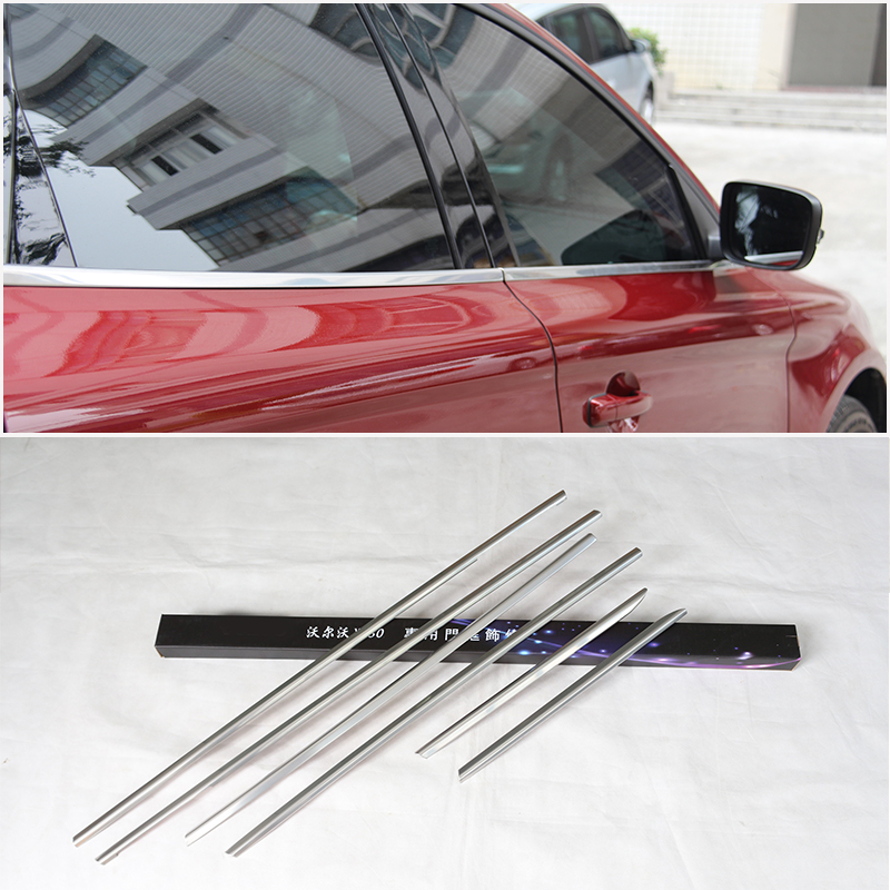 6pcs Aluminum alloy Lower Window Cover Trim for Volvo XC60 XC 60 2009 2010 2011 2012 2013 2014 2015 Car Accessories car rear trunk security shield cargo cover for jeep compass 2007 2008 2009 2010 2011 high qualit auto accessories